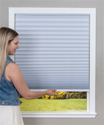 Easy Lift Blinds Trim-at-Home Cordless Pleated Light Blocking WHITE